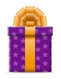 Contenitore di regalo con un'illustrazione di vettore dell'arco Fotografia Stock