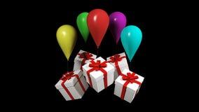 contenitore di regalo 3d sul pallone variopinto illustrazione di stock