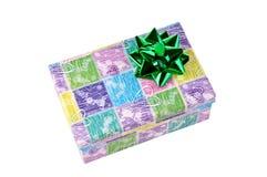 Contenitore di regalo decorativo con l'arco verde Fotografia Stock