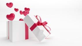 Contenitore di regalo dei biglietti di S. Valentino con i cuori che volano fuori dall'interno Fotografie Stock Libere da Diritti