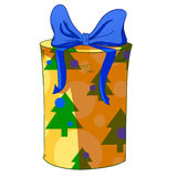 Contenitore di regalo del cilindro di Natale Fotografia Stock