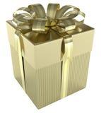 Contenitore di regalo dell'oro Fotografie Stock Libere da Diritti