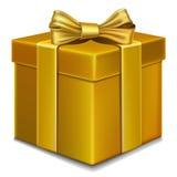 Contenitore di regalo dell'oro con l'arco Fotografia Stock Libera da Diritti