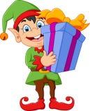 Contenitore di regalo della tenuta dell'elfo del fumetto illustrazione di stock