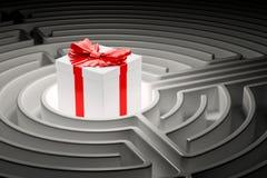 Contenitore di regalo dentro il labirinto del labirinto 3d Fotografie Stock Libere da Diritti