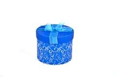 Contenitore di regalo di natale in azzurro Immagini Stock