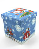 Contenitore di regalo di natale, blu su bianco Fotografia Stock