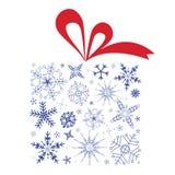 Contenitore di regalo di natale con i fiocchi di neve Immagine Stock Libera da Diritti