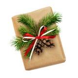 Contenitore di regalo di Natale con l'arco del nastro, il ramoscello dell'abete ed i coni Fotografie Stock Libere da Diritti