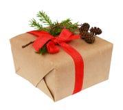 Contenitore di regalo di Natale con l'arco del nastro, il ramoscello dell'abete ed il piccolo cono Immagini Stock Libere da Diritti