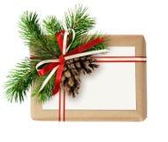 Contenitore di regalo di Natale con l'arco del nastro, il ramoscello dell'abete, i coni e la corrente alternata Fotografia Stock