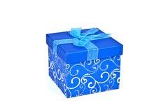 Contenitore di regalo di natale in documento blu Fotografia Stock Libera da Diritti