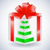 Contenitore di regalo di nuovo anno con l'arco Fotografia Stock