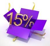 Contenitore di regalo di sconto di quindici per cento illustrazione di stock
