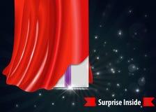 Contenitore di regalo di sorpresa con progettazione rossa della tenda illustrazione di stock