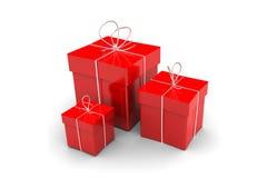 Contenitore di regalo di tre rossi Fotografie Stock Libere da Diritti