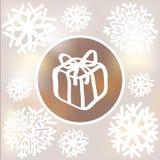 Contenitore di regalo disegnato a mano su fondo vago con i fiocchi di neve illustrazione vettoriale