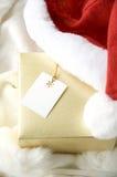 Contenitore di regalo dorato Immagini Stock Libere da Diritti