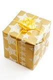 Contenitore di regalo dorato Fotografia Stock