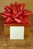 Contenitore di regalo e scheda in bianco Fotografia Stock