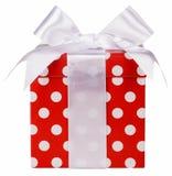 Contenitore di regalo ed arco di bianco Fotografia Stock Libera da Diritti