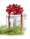 Contenitore di regalo fatto dei dollari Immagini Stock Libere da Diritti