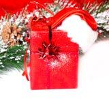 Contenitore di regalo fatto a mano con il cappello di Santa in un innevato Fotografia Stock Libera da Diritti