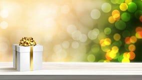 Contenitore di regalo festivo di Natale con l'albero decorato luminoso festivo di festa nei precedenti illustrazione vettoriale