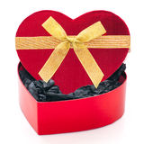 Contenitore di regalo a forma di del cuore Fotografie Stock Libere da Diritti