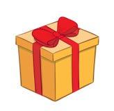 Contenitore di regalo giallo con il nastro rosso Illustrazione di Stock
