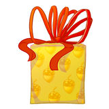 Contenitore di regalo giallo con l'arco rosso Fotografie Stock Libere da Diritti