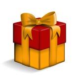 Contenitore di regalo giallo e rosso Immagini Stock Libere da Diritti