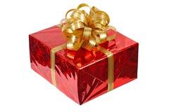 Contenitore di regalo isolato su bianco con lo spazio della copia Fotografia Stock Libera da Diritti