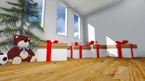 Contenitore di regalo nella sala Immagini Stock