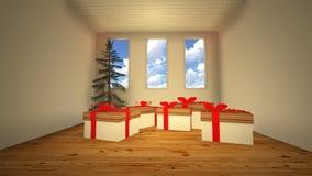 Contenitore di regalo nella sala Fotografie Stock