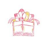 Contenitore di regalo nello stile di schizzo, vettore, illustrazione Immagini Stock Libere da Diritti