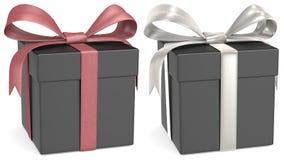 Contenitore di regalo nero. Fotografia Stock