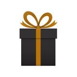 Contenitore di regalo nero su fondo bianco illustrazione di stock