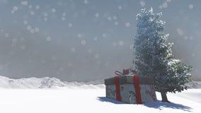 Contenitore di regalo in nevoso Fotografia Stock Libera da Diritti