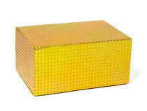 Contenitore di regalo olografico giallo Immagini Stock Libere da Diritti