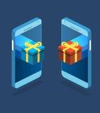 Contenitore di regalo piano isometrico sopra il touch screen del telefono Fotografia Stock