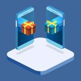 Contenitore di regalo piano isometrico sopra il touch screen del telefono Immagini Stock