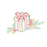 Contenitore di regalo, presente, schizzo, vettore, illustrazione Fotografie Stock Libere da Diritti