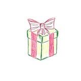 Contenitore di regalo, presente, schizzo, vettore, illustrazione Immagini Stock