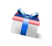 Contenitore di regalo realistico della foto 3D che rende blu Fotografie Stock