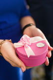 Contenitore di regalo rosa Immagini Stock Libere da Diritti