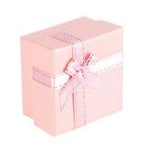 Contenitore di regalo rosa con l'arco del nastro Fotografia Stock