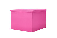 Contenitore di regalo rosa di carta isolato su bianco Fotografie Stock
