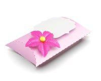 Contenitore di regalo rosa fatto a mano su fondo bianco renderin 3D Immagine Stock