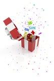 Contenitore di regalo rosso con gli sconti Immagine Stock